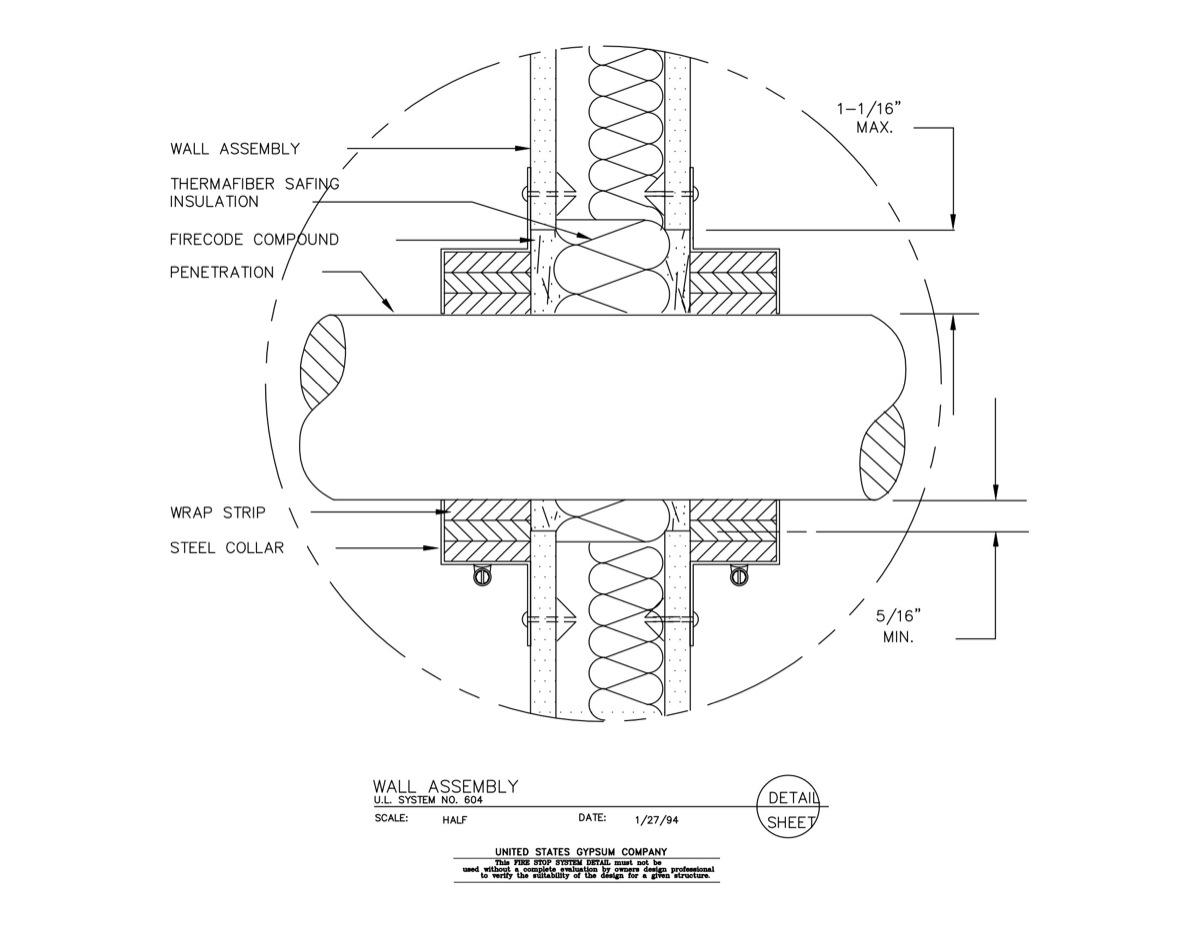 07 84 13 09 29 00 104 Firestop Wall Penetration Detail